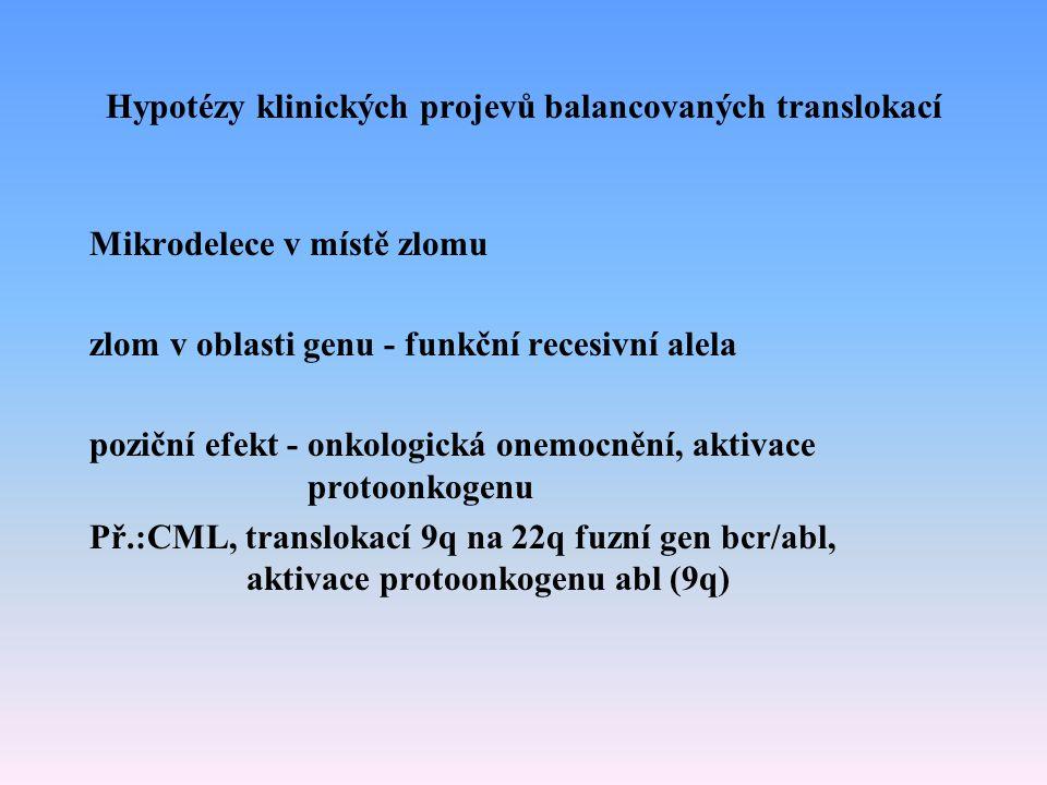 Hypotézy klinických projevů balancovaných translokací Mikrodelece v místě zlomu zlom v oblasti genu - funkční recesivní alela poziční efekt - onkologi