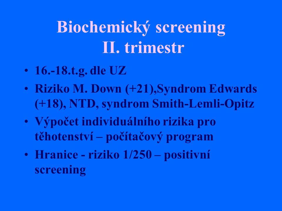 Biochemický screening II. trimestr 16.-18.t.g. dle UZ Riziko M. Down (+21),Syndrom Edwards (+18), NTD, syndrom Smith-Lemli-Opitz Výpočet individuálníh