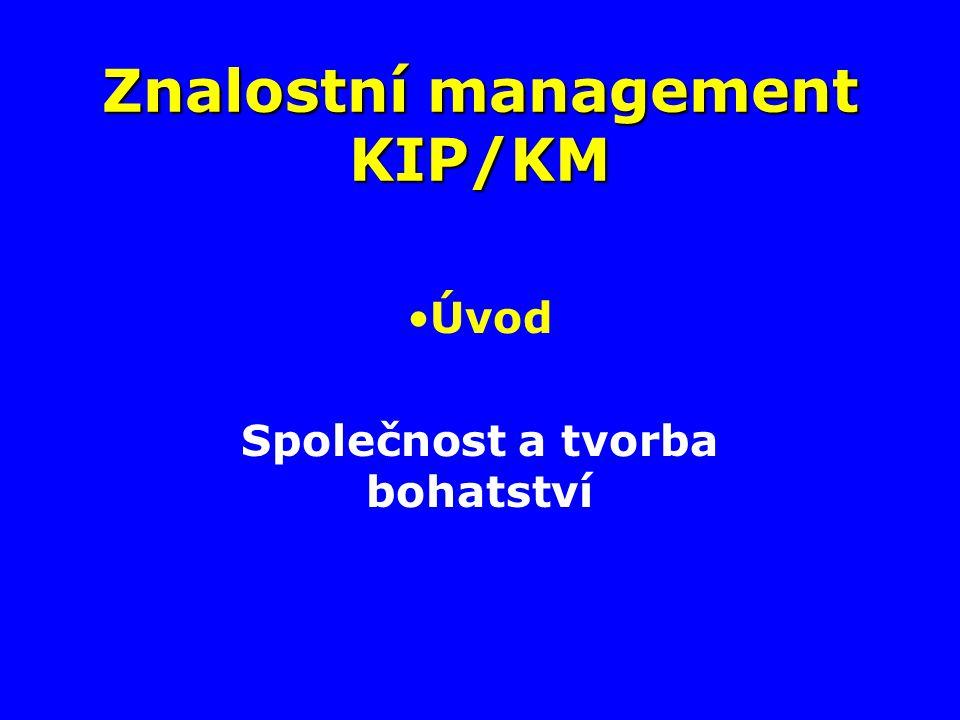 Znalostní management KIP/KM Úvod Společnost a tvorba bohatství