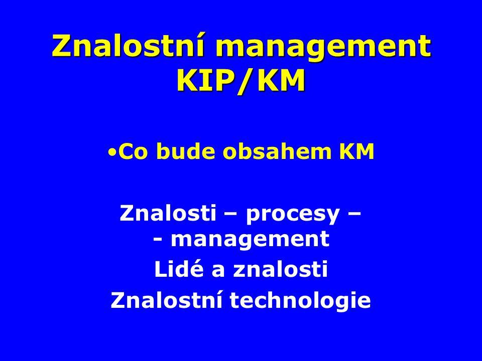 Znalostní management KIP/KM Co bude obsahem KM Znalosti – procesy – - management Lidé a znalosti Znalostní technologie