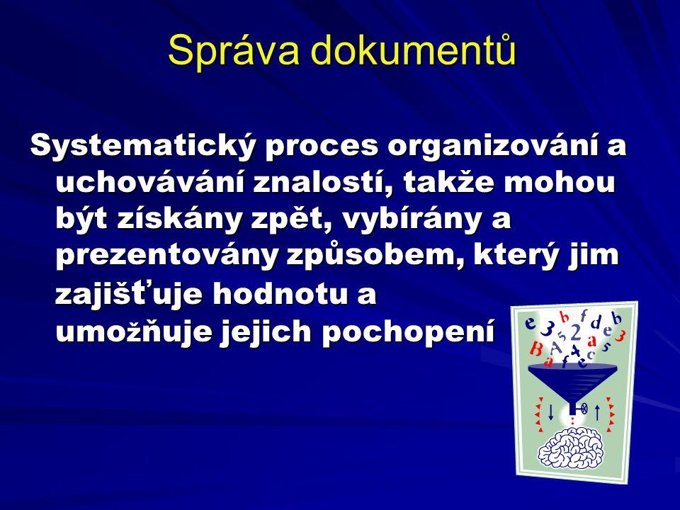 Systematický proces organizování a uchovávání znalostí, takže mohou být získány zpět, vybírány a prezentovány způsobem, který jim zajiš ť uje hodnotu
