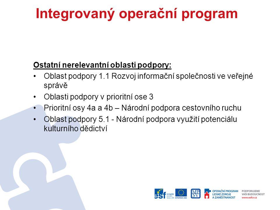 Integrovaný operační program Ostatní nerelevantní oblasti podpory: Oblast podpory 1.1 Rozvoj informační společnosti ve veřejné správě Oblasti podpory