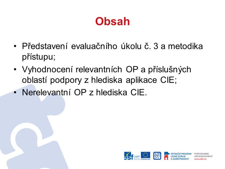 Obsah Představení evaluačního úkolu č. 3 a metodika přístupu; Vyhodnocení relevantních OP a příslušných oblastí podpory z hlediska aplikace CIE; Nerel