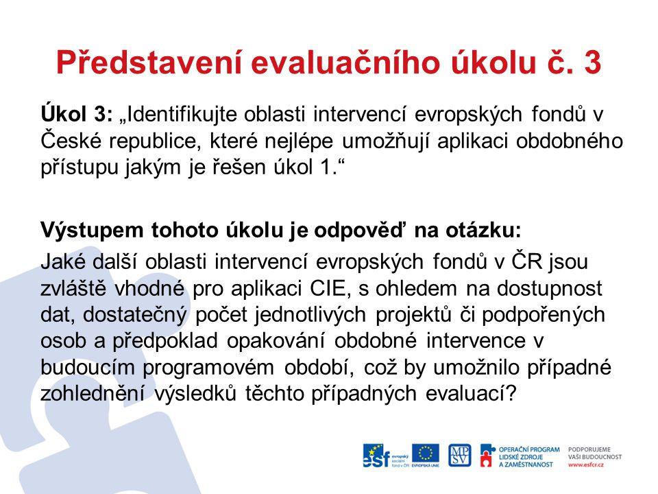 """Představení evaluačního úkolu č. 3 Úkol 3: """"Identifikujte oblasti intervencí evropských fondů v České republice, které nejlépe umožňují aplikaci obdob"""