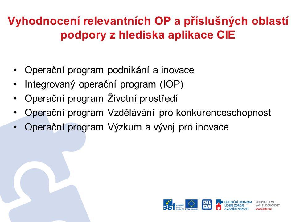 Vyhodnocení relevantních OP a příslušných oblastí podpory z hlediska aplikace CIE Operační program podnikání a inovace Integrovaný operační program (IOP) Operační program Životní prostředí Operační program Vzdělávání pro konkurenceschopnost Operační program Výzkum a vývoj pro inovace