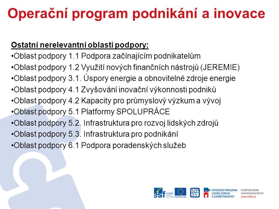 Ostatní nerelevantní oblasti podpory: Oblast podpory 1.1 Podpora začínajícím podnikatelům Oblast podpory 1.2 Využití nových finančních nástrojů (JEREMIE) Oblast podpory 3.1.