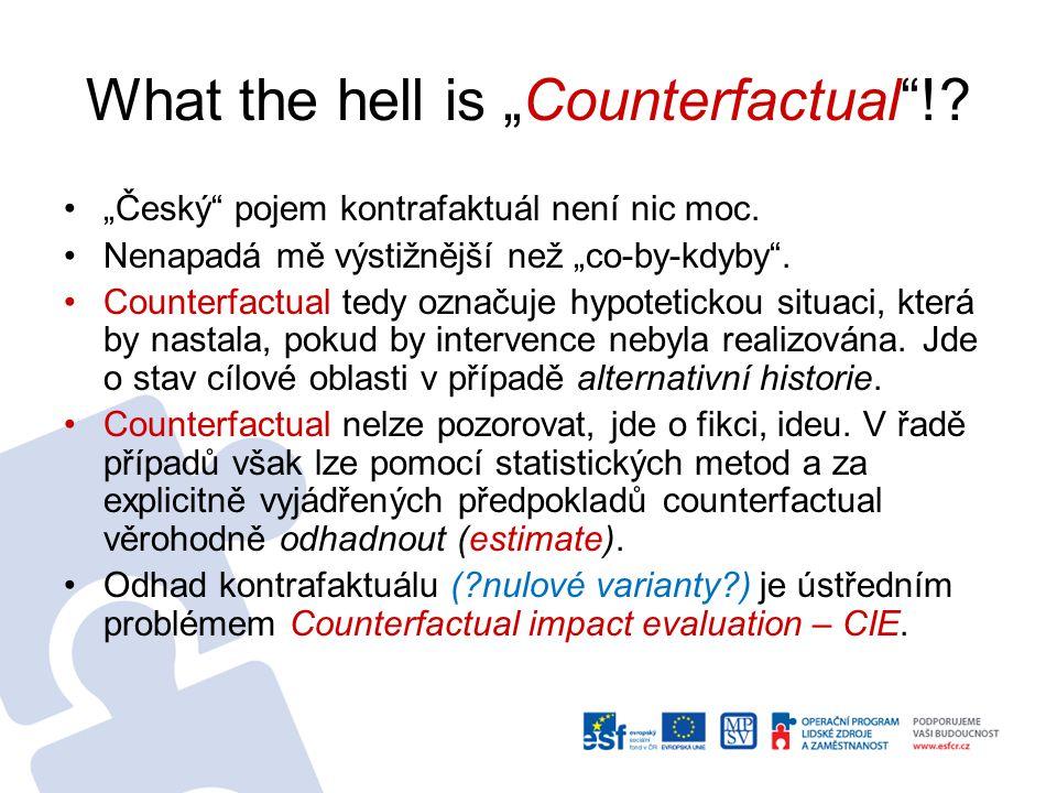"""What the hell is """"Counterfactual !.""""Český pojem kontrafaktuál není nic moc."""