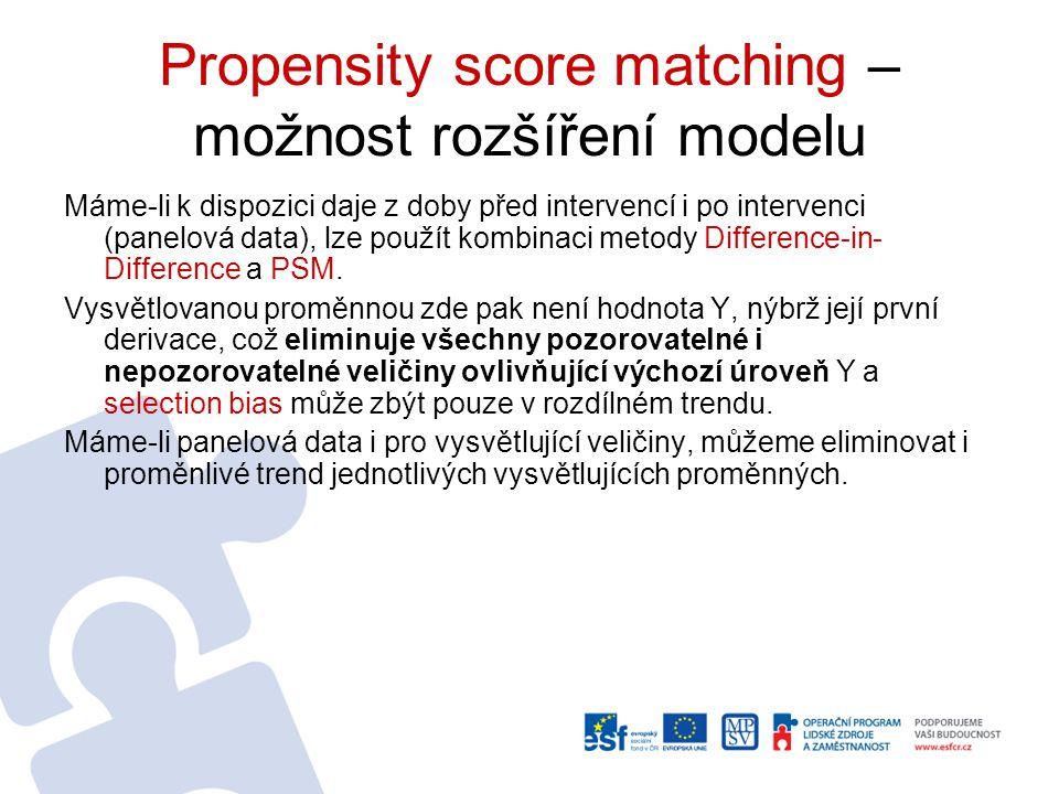 Propensity score matching Statistická metoda, která umí veškeré charakteristiky (ne)účastníka interpretovat jedním číslem (propensity score), následně porovnává páry s nejbližším propensity score.