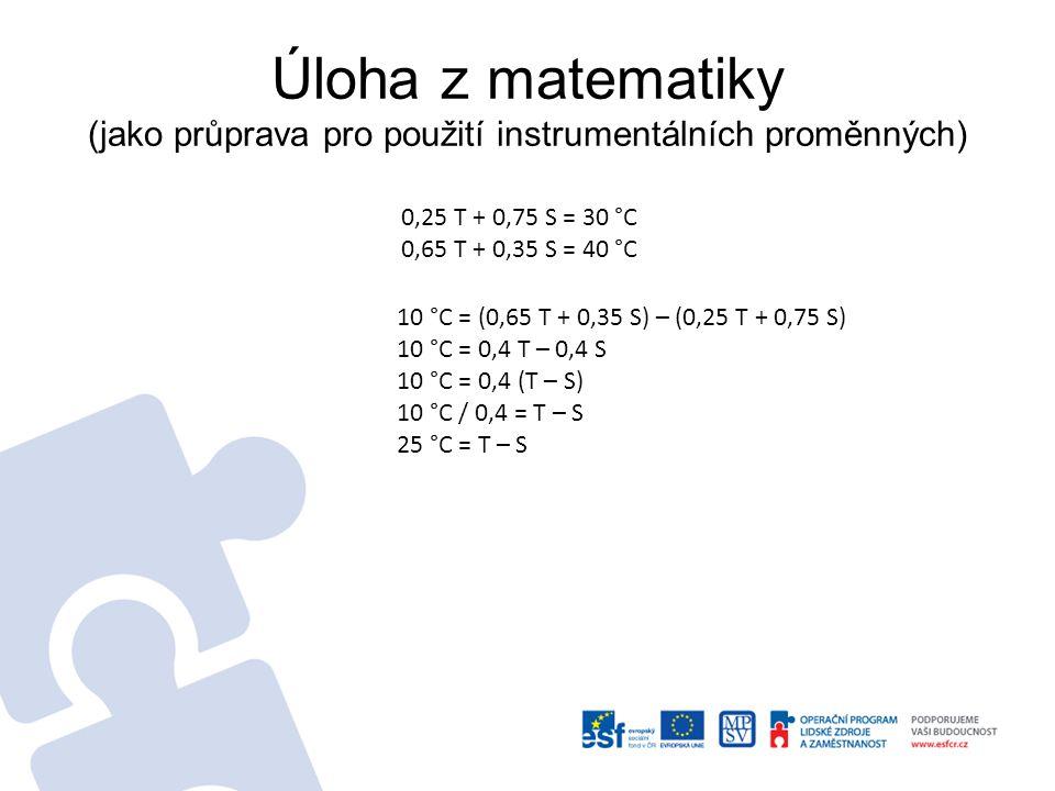 Úloha z matematiky (jako průprava pro použití instrumentálních proměnných) Natočím si jednu směs (např.