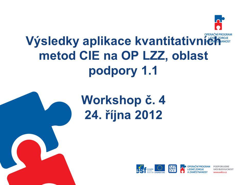 Výsledky aplikace kvantitativních metod CIE na OP LZZ, oblast podpory 1.1 Workshop č.