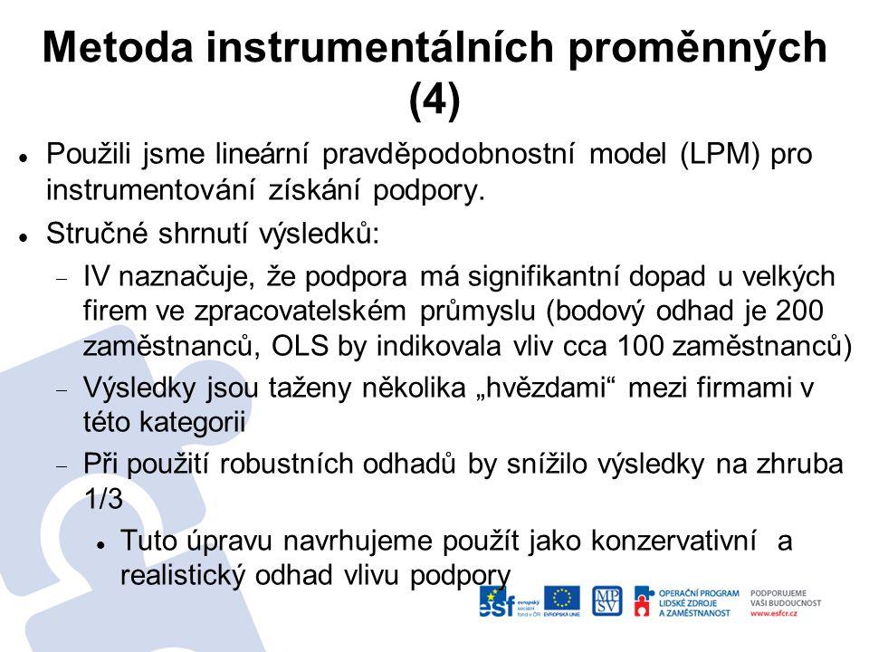 Metoda instrumentálních proměnných (4) Použili jsme lineární pravděpodobnostní model (LPM) pro instrumentování získání podpory.