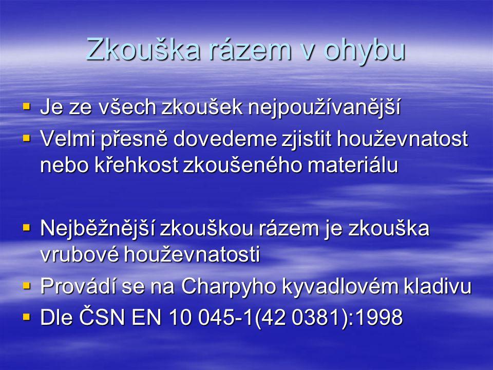 Zkouška rázem v ohybu  Je ze všech zkoušek nejpoužívanější  Velmi přesně dovedeme zjistit houževnatost nebo křehkost zkoušeného materiálu  Nejběžnější zkouškou rázem je zkouška vrubové houževnatosti  Provádí se na Charpyho kyvadlovém kladivu  Dle ČSN EN 10 045-1(42 0381):1998