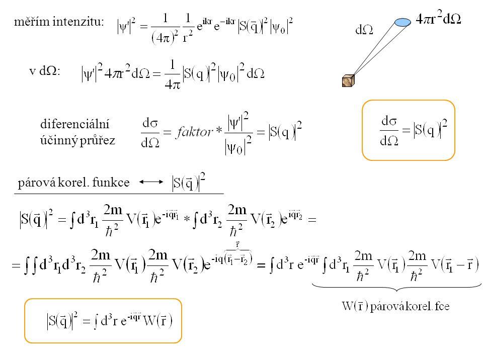 měřím intenzitu: v d  : diferenciální účinný průřez párová korel. funkce