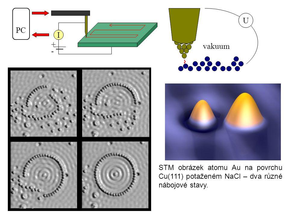 U vakuum + - I PC STM obrázek atomu Au na povrchu Cu(111) potaženém NaCl – dva různé nábojové stavy.