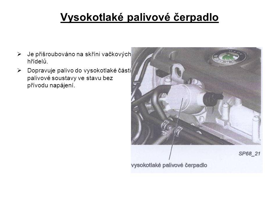 Vysokotlaké palivové čerpadlo  Je přišroubováno na skříni vačkových hřídelů.  Dopravuje palivo do vysokotlaké části palivové soustavy ve stavu bez p