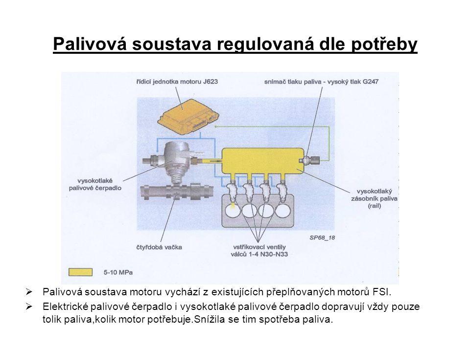Palivová soustava regulovaná dle potřeby  Palivová soustava motoru vychází z existujících přeplňovaných motorů FSI.  Elektrické palivové čerpadlo i