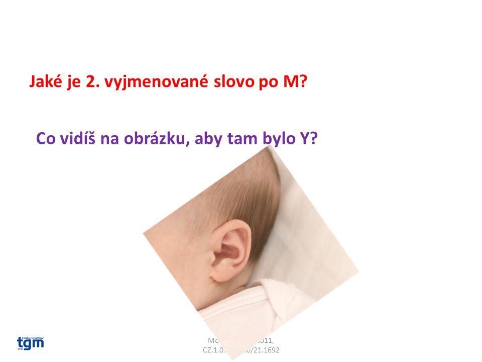 Moderní škola 2011, CZ.1.07/1.4.00/21.1692 Jaké je 2. vyjmenované slovo po M? Co vidíš na obrázku, aby tam bylo Y?