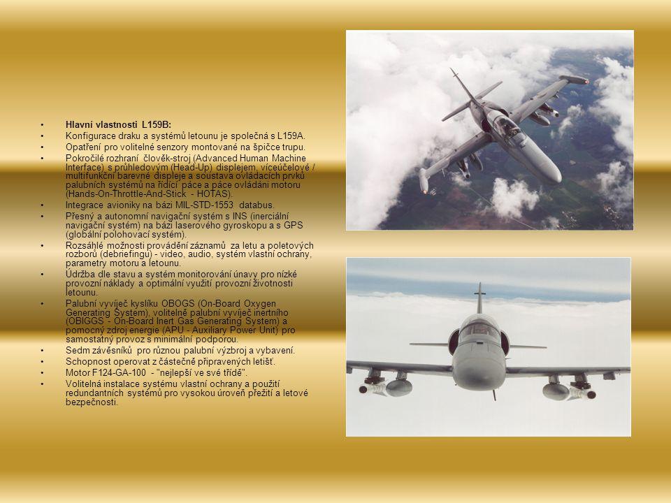 Hlavní vlastnosti L159B: Konfigurace draku a systémů letounu je společná s L159A.
