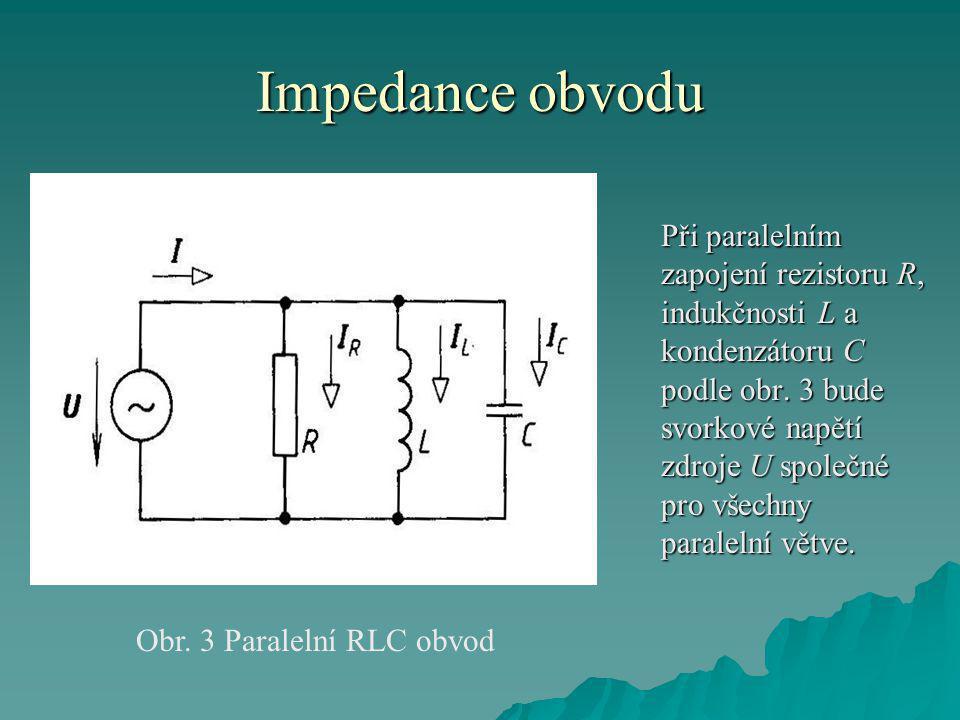 Impedance obvodu Při paralelním zapojení rezistoru R, indukčnosti L a kondenzátoru C podle obr.