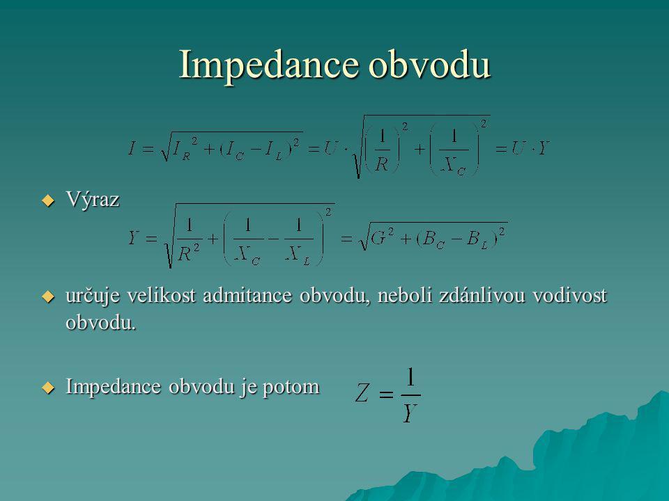 Impedance obvodu  Výraz  určuje velikost admitance obvodu, neboli zdánlivou vodivost obvodu.
