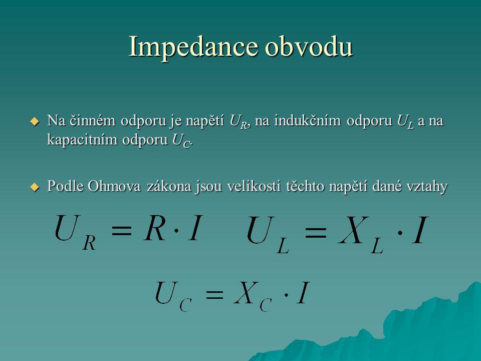 Impedance obvodu  Na činném odporu je napětí U R, na indukčním odporu U L a na kapacitním odporu U C.