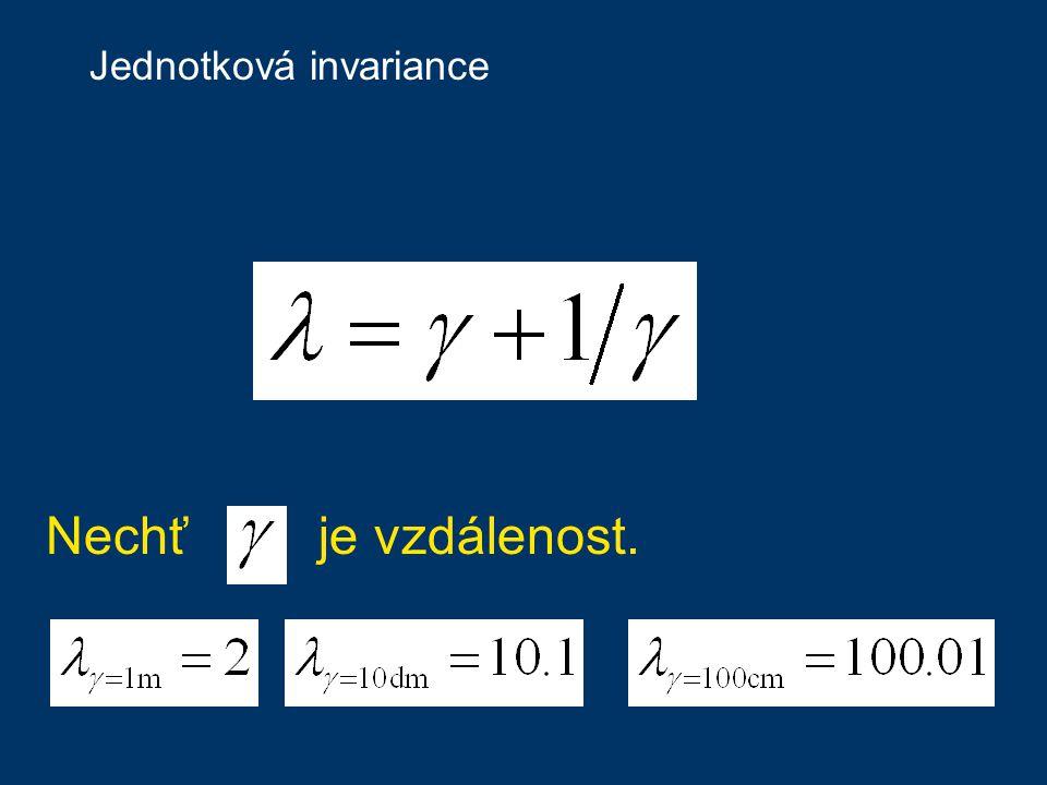 Jednotková invariance Nechť je vzdálenost.