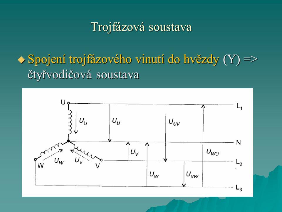 Trojfázová soustava  Začátky všech tří cívek alternátoru spojíme do jednoho uzlu, tedy nulového bodu z něhož vyvedeme střední vodič (= nulový vodič, neutrální vodič) N .