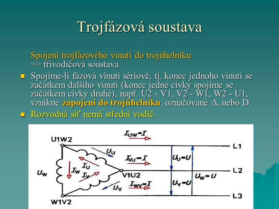 Trojfázová soustava V třívodičové soustavě je: V třívodičové soustavě je: - jeden druh napětí: - jeden druh napětí: mezi libovolnými vodiči je fázové napětí (= napětí jedné fáze).