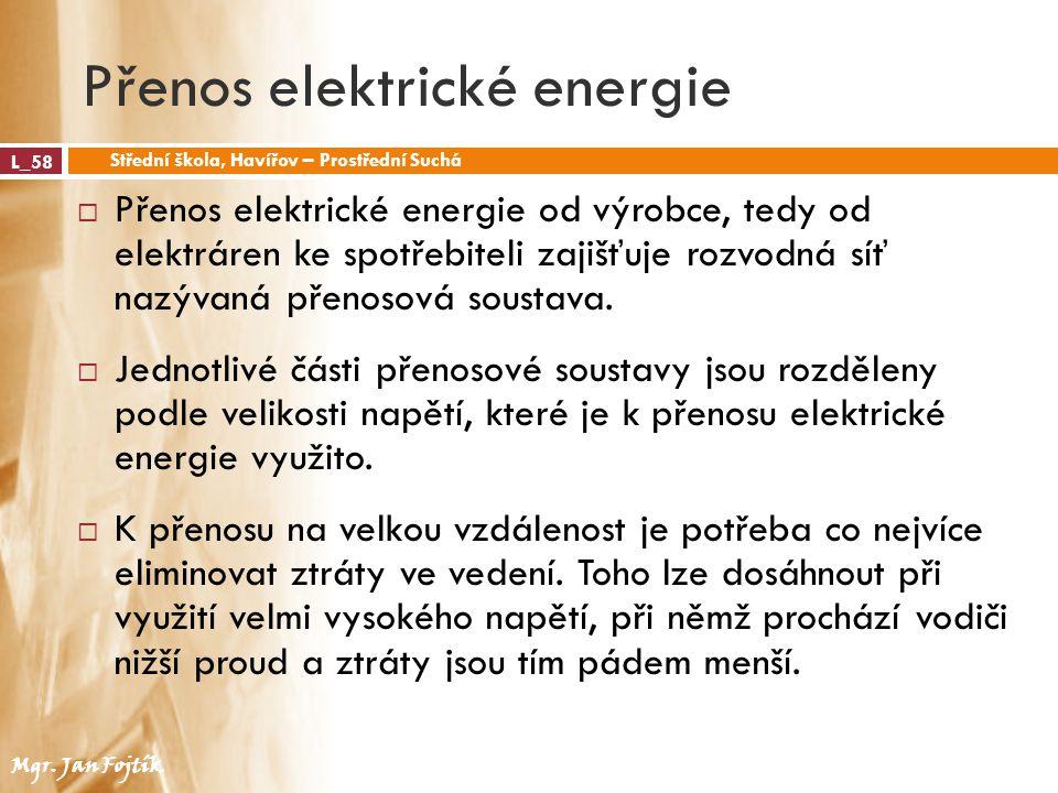 Přenos elektrické energie L_58 Střední škola, Havířov – Prostřední Suchá Mgr. Jan Fojtík  Přenos elektrické energie od výrobce, tedy od elektráren ke
