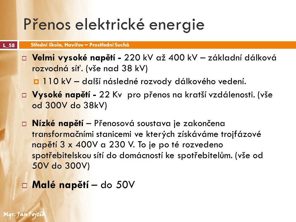 Přenos elektrické energie L_58 Střední škola, Havířov – Prostřední Suchá Mgr. Jan Fojtík  Velmi vysoké napětí - 220 kV až 400 kV – základní dálková r