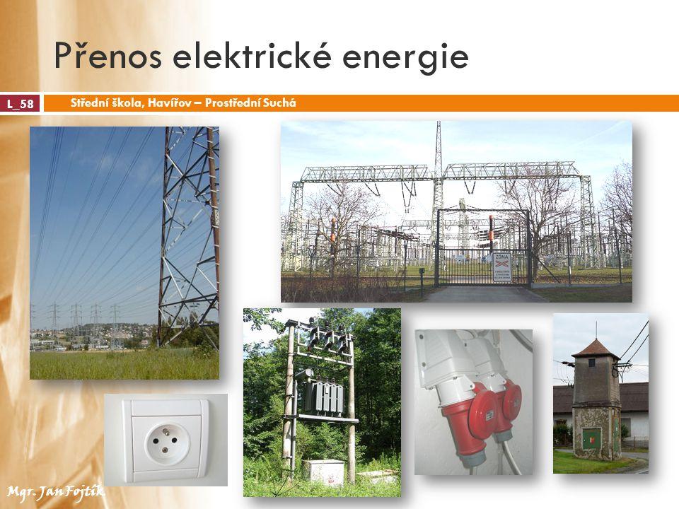 Přenos elektrické energie L_58 Střední škola, Havířov – Prostřední Suchá Mgr. Jan Fojtík