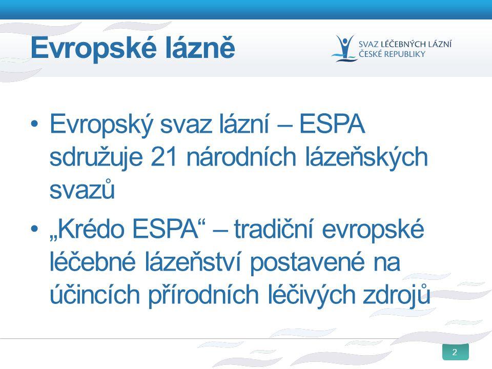 """2 Evropské lázně Evropský svaz lázní – ESPA sdružuje 21 národních lázeňských svazů """"Krédo ESPA"""" – tradiční evropské léčebné lázeňství postavené na úči"""