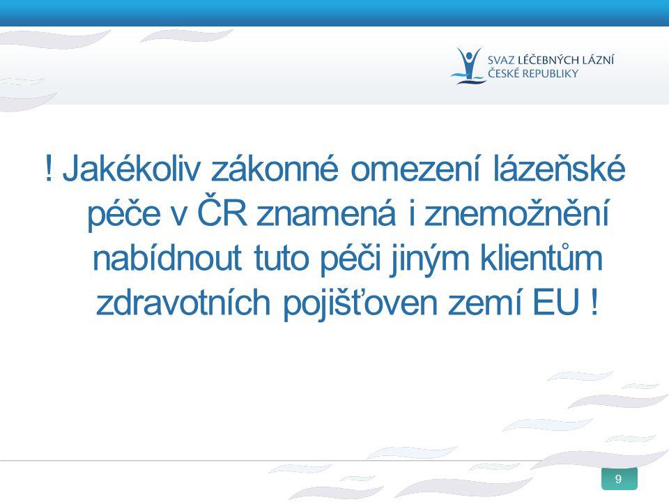 9 ! Jakékoliv zákonné omezení lázeňské péče v ČR znamená i znemožnění nabídnout tuto péči jiným klientům zdravotních pojišťoven zemí EU !
