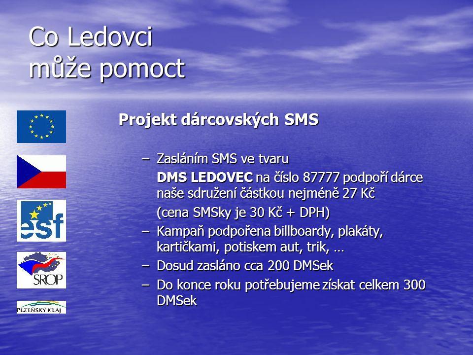 Co Ledovci může pomoct Projekt dárcovských SMS –Zasláním SMS ve tvaru DMS LEDOVEC na číslo 87777 podpoří dárce naše sdružení částkou nejméně 27 Kč (ce