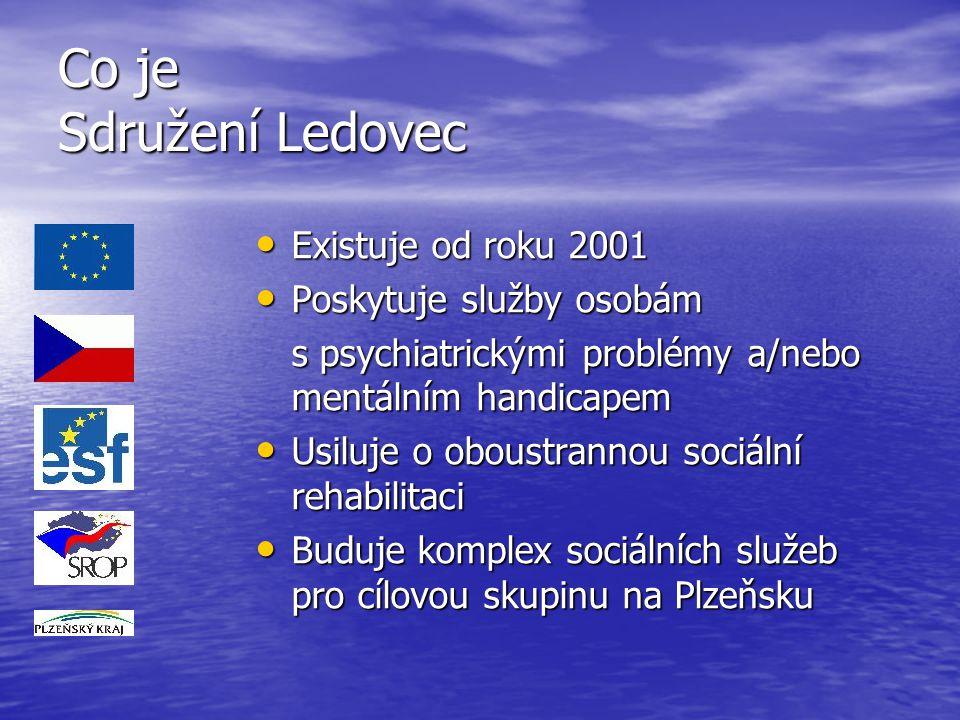 Co je Sdružení Ledovec Existuje od roku 2001 Existuje od roku 2001 Poskytuje služby osobám Poskytuje služby osobám s psychiatrickými problémy a/nebo m