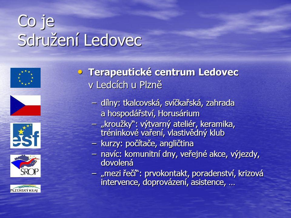 Co je Sdružení Ledovec Terapeutické centrum Ledovec Terapeutické centrum Ledovec v Ledcích u Plzně –dílny: tkalcovská, svíčkařská, zahrada a hospodářs
