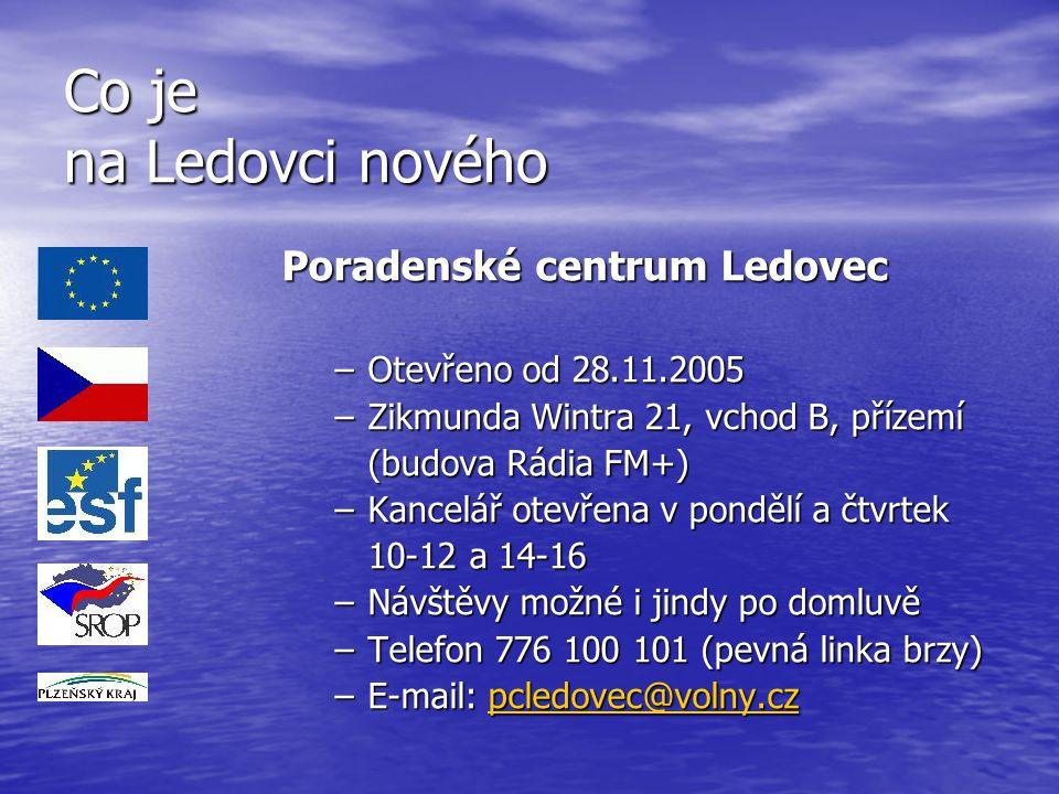 Co je na Ledovci nového Poradenské centrum Ledovec –Otevřeno od 28.11.2005 –Zikmunda Wintra 21, vchod B, přízemí (budova Rádia FM+) –Kancelář otevřena