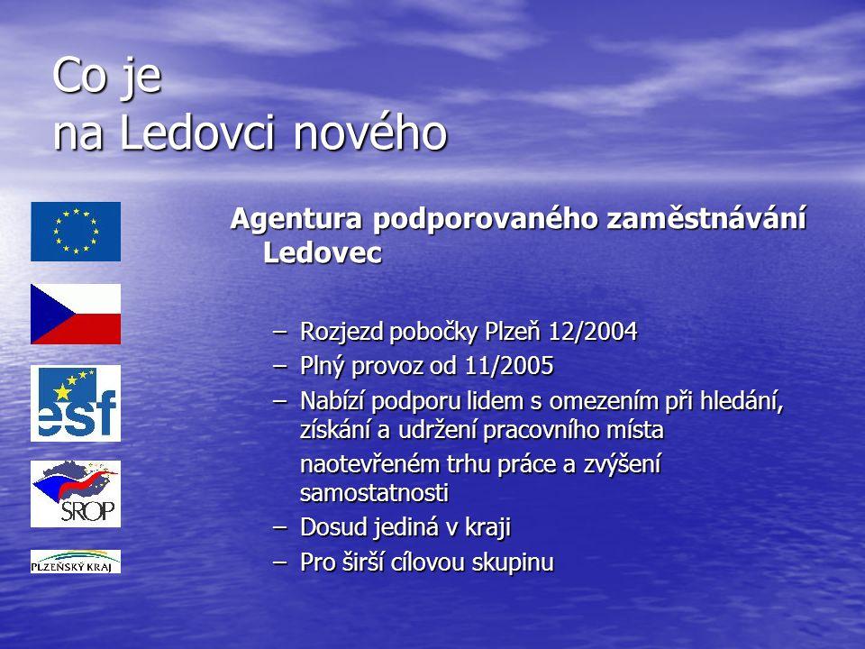 Co je na Ledovci nového Agentura podporovaného zaměstnávání Ledovec –Rozjezd pobočky Plzeň 12/2004 –Plný provoz od 11/2005 –Nabízí podporu lidem s ome