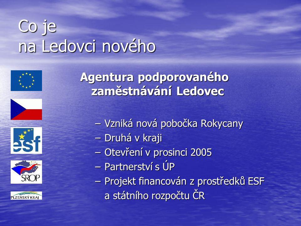 Co je na Ledovci nového Agentura podporovaného zaměstnávání Ledovec –Vzniká nová pobočka Rokycany –Druhá v kraji –Otevření v prosinci 2005 –Partnerstv