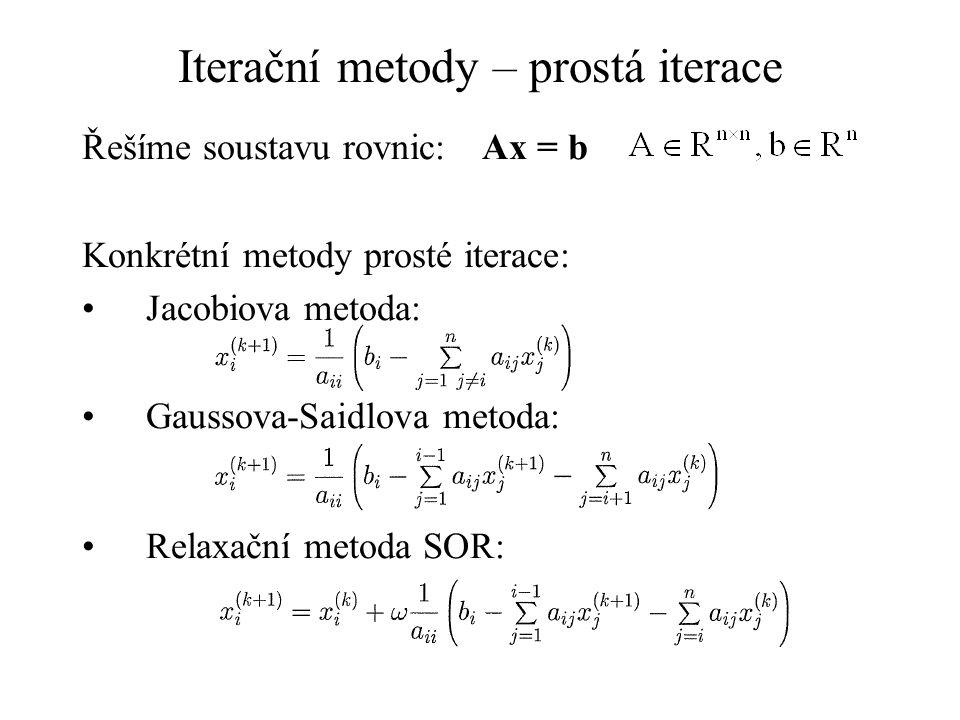 Iterační metody – prostá iterace Řešíme soustavu rovnic:Ax = b Konkrétní metody prosté iterace: Jacobiova metoda: Gaussova-Saidlova metoda: Relaxační