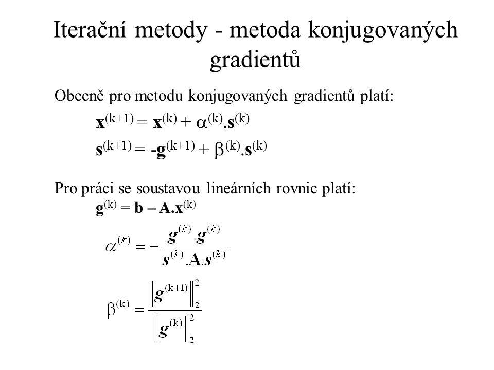 Iterační metody - metoda konjugovaných gradientů Obecně pro metodu konjugovaných gradientů platí: x (k+1) = x (k) +  (k).s (k) s (k+1) = -g (k+1) + 