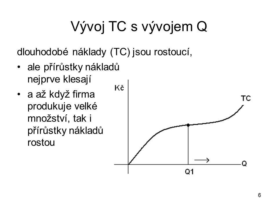 6 Vývoj TC s vývojem Q dlouhodobé náklady (TC) jsou rostoucí, ale přírůstky nákladů nejprve klesají a až když firma produkuje velké množství, tak i přírůstky nákladů rostou