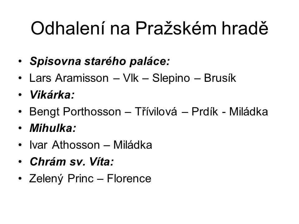 Odhalení na Pražském hradě Spisovna starého paláce: Lars Aramisson – Vlk – Slepino – Brusík Vikárka: Bengt Porthosson – Třívilová – Prdík - Miládka Mi
