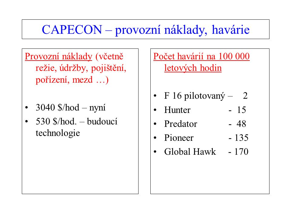 CAPECON – provozní náklady, havárie Provozní náklady (včetně režie, údržby, pojištění, pořízení, mezd …) 3040 $/hod – nyní 530 $/hod.