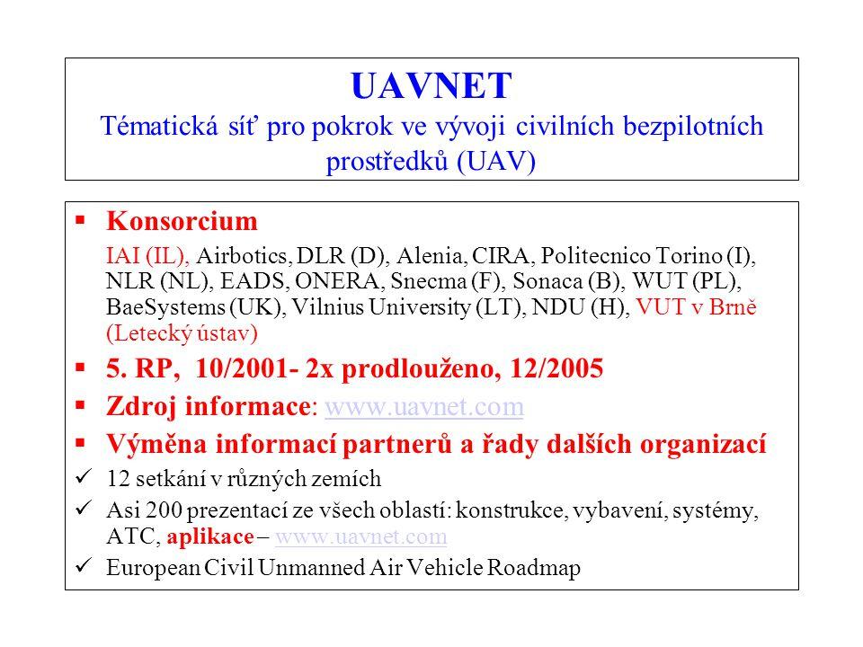 UAVNET Tématická síť pro pokrok ve vývoji civilních bezpilotních prostředků (UAV)  Konsorcium IAI (IL), Airbotics, DLR (D), Alenia, CIRA, Politecnico Torino (I), NLR (NL), EADS, ONERA, Snecma (F), Sonaca (B), WUT (PL), BaeSystems (UK), Vilnius University (LT), NDU (H), VUT v Brně (Letecký ústav)  5.