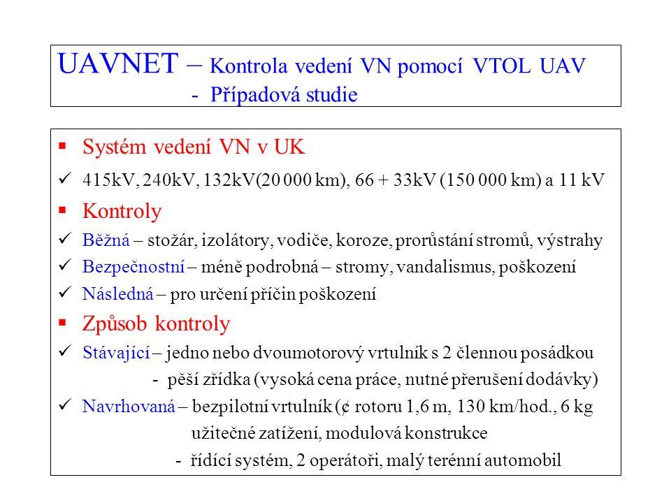 UAVNET – Kontrola vedení VN pomocí VTOL UAV - Případová studie  Systém vedení VN v UK 415kV, 240kV, 132kV(20 000 km), 66 + 33kV (150 000 km) a 11 kV  Kontroly Běžná – stožár, izolátory, vodiče, koroze, prorůstání stromů, výstrahy Bezpečnostní – méně podrobná – stromy, vandalismus, poškození Následná – pro určení příčin poškození  Způsob kontroly Stávající – jedno nebo dvoumotorový vrtulník s 2 člennou posádkou - pěší zřídka (vysoká cena práce, nutné přerušení dodávky) Navrhovaná – bezpilotní vrtulník (¢ rotoru 1,6 m, 130 km/hod., 6 kg užitečné zatížení, modulová konstrukce - řídící systém, 2 operátoři, malý terénní automobil