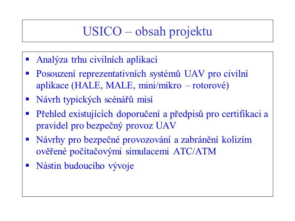 USICO – obsah projektu  Analýza trhu civilních aplikací  Posouzení reprezentativních systémů UAV pro civilní aplikace (HALE, MALE, mini/mikro – rotorové)  Návrh typických scénářů misí  Přehled existujících doporučení a předpisů pro certifikaci a pravidel pro bezpečný provoz UAV  Návrhy pro bezpečné provozování a zabránění kolizím ověřené počítačovými simulacemi ATC/ATM  Nástin budoucího vývoje