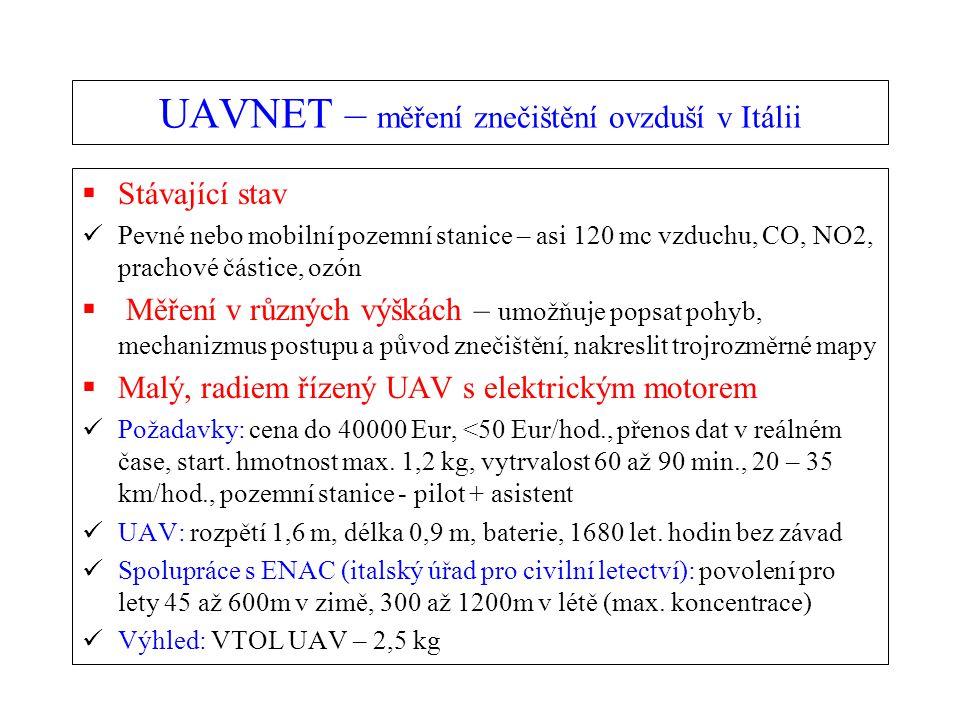 UAVNET – měření znečištění ovzduší v Itálii  Stávající stav Pevné nebo mobilní pozemní stanice – asi 120 mc vzduchu, CO, NO2, prachové částice, ozón  Měření v různých výškách – umožňuje popsat pohyb, mechanizmus postupu a původ znečištění, nakreslit trojrozměrné mapy  Malý, radiem řízený UAV s elektrickým motorem Požadavky: cena do 40000 Eur, <50 Eur/hod., přenos dat v reálném čase, start.