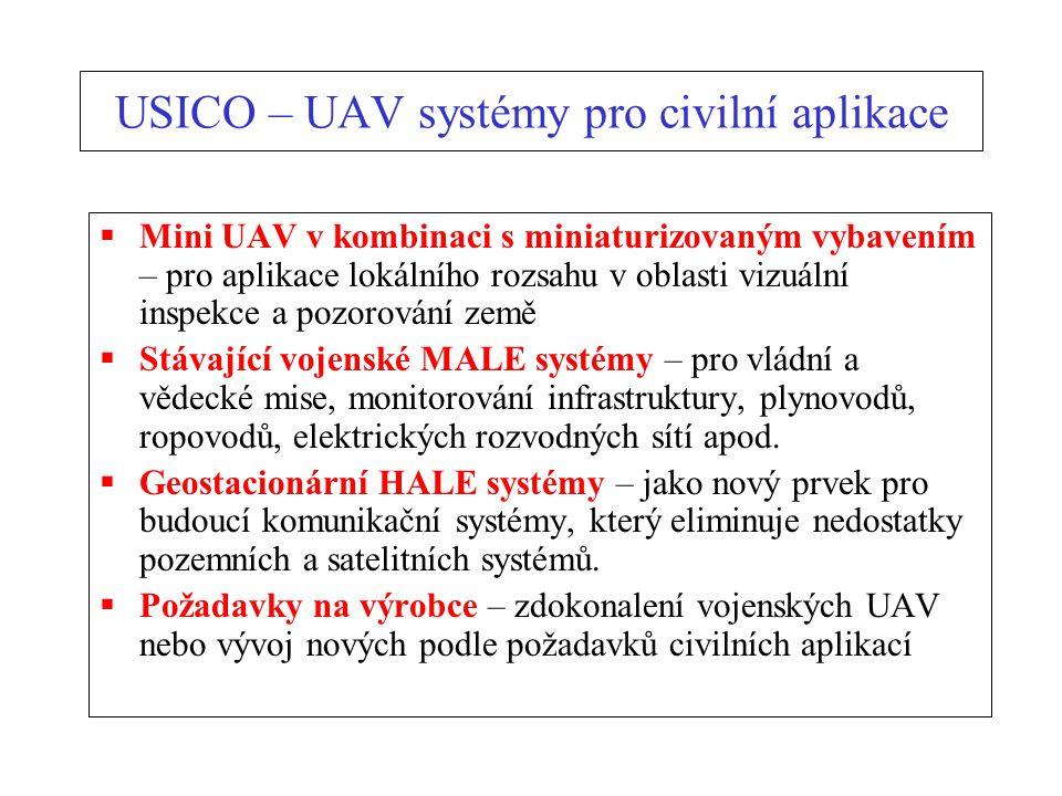 USICO – UAV systémy pro civilní aplikace  Mini UAV v kombinaci s miniaturizovaným vybavením – pro aplikace lokálního rozsahu v oblasti vizuální inspekce a pozorování země  Stávající vojenské MALE systémy – pro vládní a vědecké mise, monitorování infrastruktury, plynovodů, ropovodů, elektrických rozvodných sítí apod.