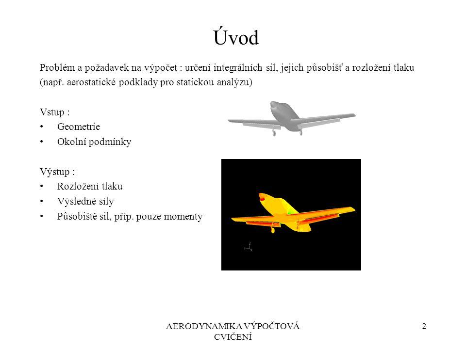 2AERODYNAMIKA VÝPOČTOVÁ CVIČENÍ Úvod Problém a požadavek na výpočet : určení integrálních sil, jejich působišť a rozložení tlaku (např. aerostatické p
